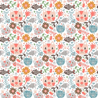 Seamless pattern cat doodle style fish and flower natural leaves