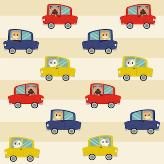 The seamless pattern of cat driving a car