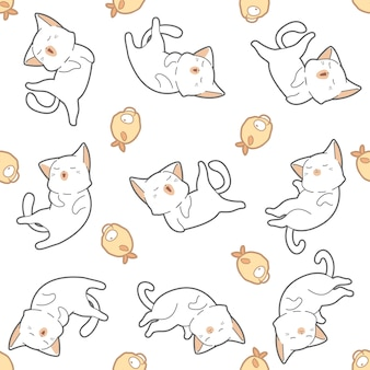 Seamless pattern cat and fish.