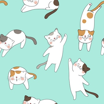 Seamless pattern cat on green pastel.