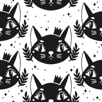 シームレスパターン猫幸せな背景かわいい動物の子猫