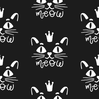 Seamless pattern cat happy backgroundcute animal kitten