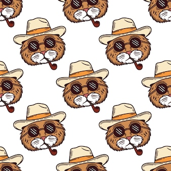 Seamless pattern of a cat head in sunglasses and smoking a cigarette pipe on white background