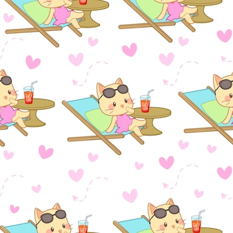 Seamless pattern of cat and heart – vector