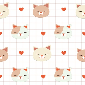 The seamless pattern of cat and heart
