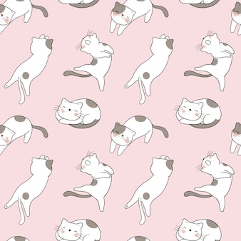 Seamless pattern cat on pink pastel.