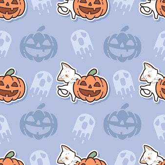 Seamless pattern cat and pumpkin cartoon