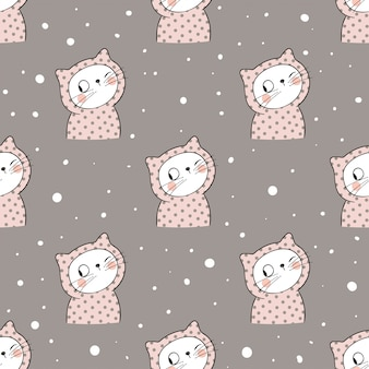 Seamless pattern cat in snow on brown pastel