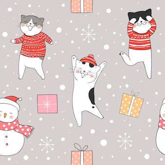 Seamless pattern cat in snow for christmas and new year.