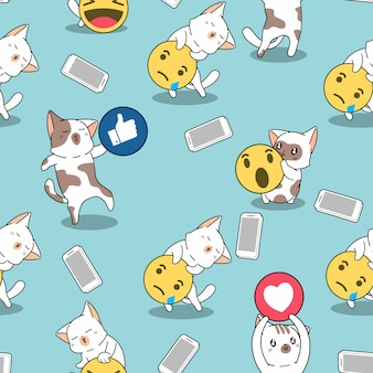 Seamless pattern cat and social media
