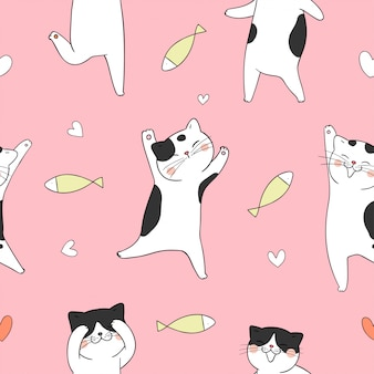 Seamless pattern cat with fish on pink.