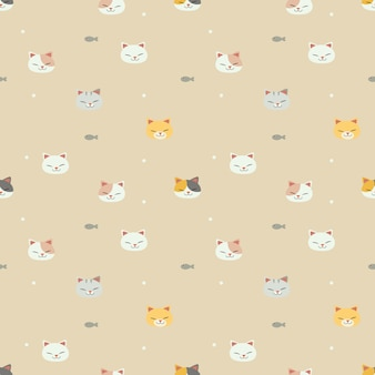 The seamless pattern of cat with a fish on the yellow background. the pattern of cute cat smiling. the pattern of cute fish