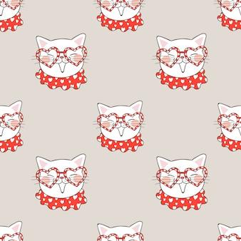 メガネと小さな心のシームレスパターン猫。