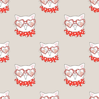 Seamless pattern cat with glasses and little heart.