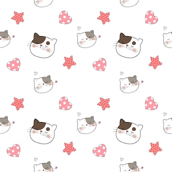 Seamless pattern cat with little heart for valentine day.