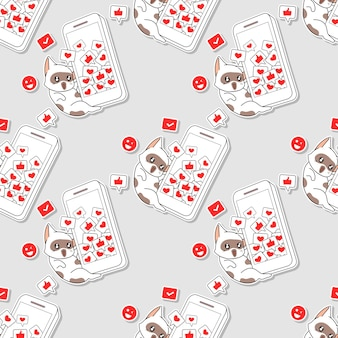 Seamless pattern cat with mobile phone