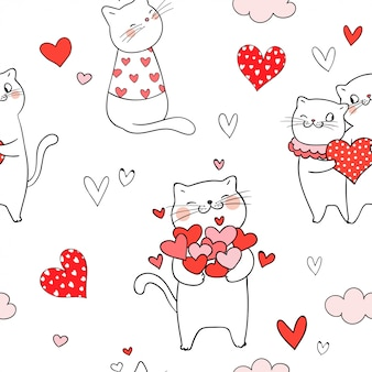 Seamless pattern cat with red heart for valentine day