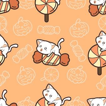 ハロウィーンの日のシームレスなパターンの猫とキャンディー