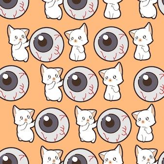 ハロウィーンの日のシームレスなパターンの猫と目