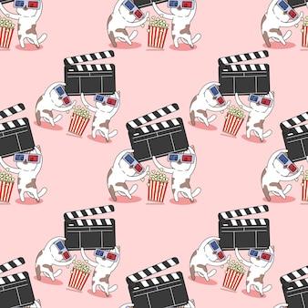 シームレスなパターンの猫と映画のアイコンの漫画
