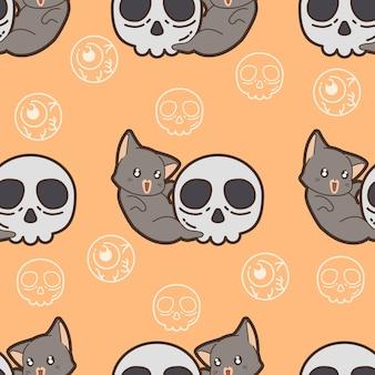 ハロウィーンの日のシームレスなパターンの猫と頭蓋骨