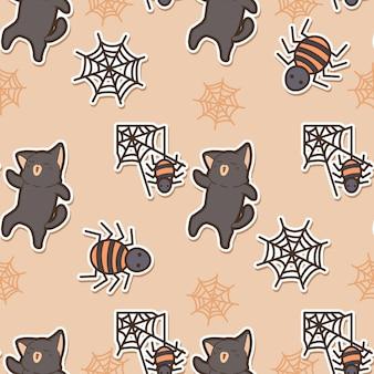 ハロウィーンの日のシームレスなパターンの猫とクモ