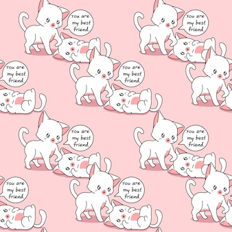 Seamless pattern cats are the best friends of each other