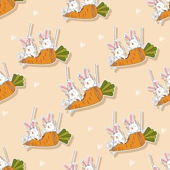 シームレスパターンの猫はニンジンの漫画を食べています