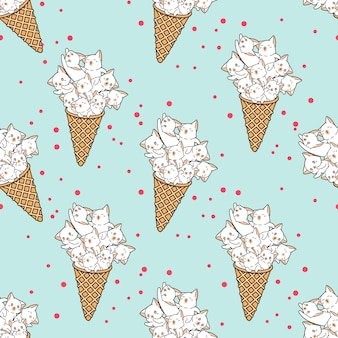 シームレスパターンの猫はアイスクリームコーンにいます