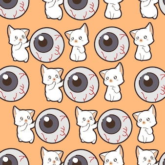 Seamless pattern cats and eye in halloween day