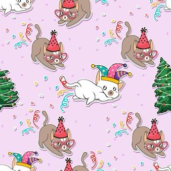 パーティー漫画のシームレスなパターンの猫