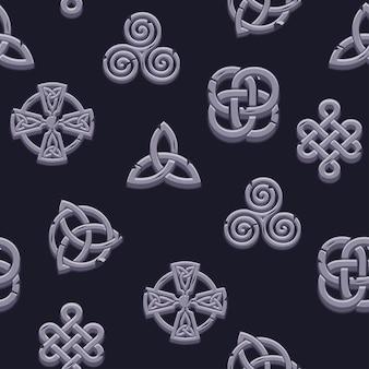 シームレスパターンケルト族のシンボル。漫画は、黒の背景にケルト族の石のアイコンを設定します。