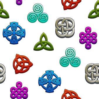 シームレスパターンケルト族のシンボル。白い背景の上のケルト族のアイコンを設定します。