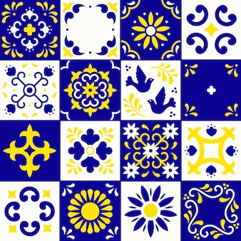 Seamless pattern of ceramic tiles with flower, leaves and bird ornaments in traditional style