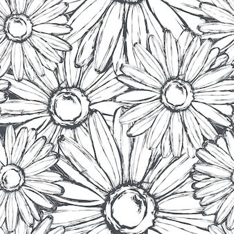 Seamless pattern of chalk chamomiles on a shabby slate