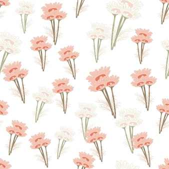 Seamless pattern chamomile on light background. beautiful ornament summer pink flowers. random texture template for fabric. design vector illustration.