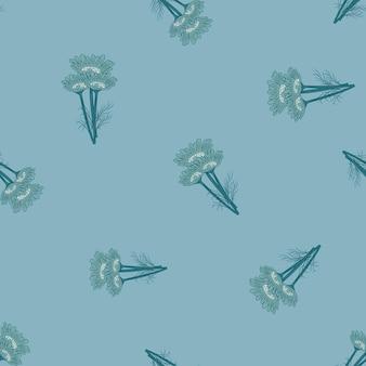 青の背景にシームレスなパターンのカモミール。美しい飾り夏の花。