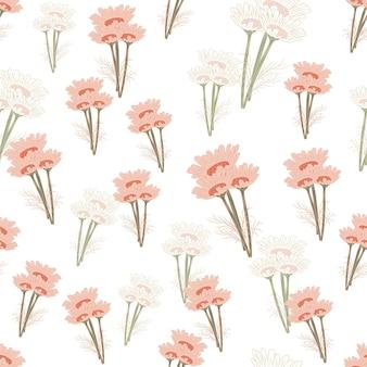 明るい背景にシームレスなパターンのカモミール。美しい飾り夏のピンクの花。ファブリックのランダムテクスチャテンプレート。デザインベクトルイラスト。