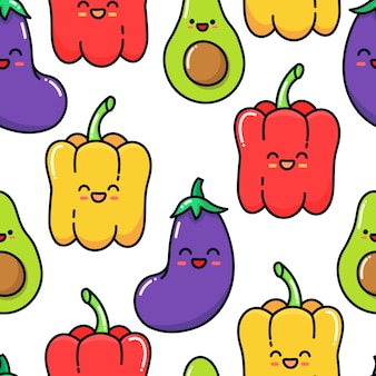 Seamless pattern of characters vegetables