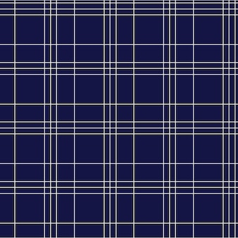 Seamless pattern of checkered tartan in dark blue color with white geometric lines