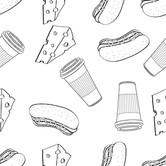 Seamless pattern of cheese hotdog and coffee hand drawn in black and white doodle vector