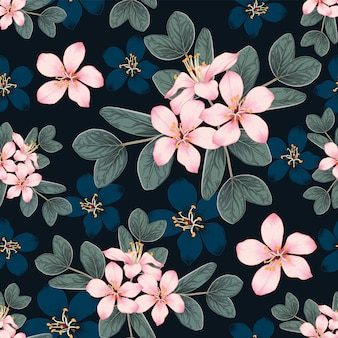 Seamless pattern cherry blossoms flowers