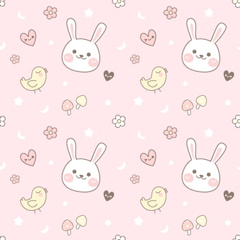 Seamless pattern chick and rabbit