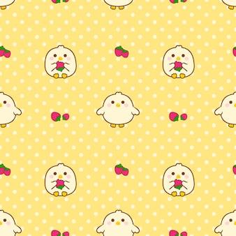 Seamless pattern chick and strawberry