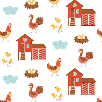 Seamless pattern chicken coop turkey farm birds. repetitive background with a rustic motif. vector hand draw paper, nursery design wallpaper