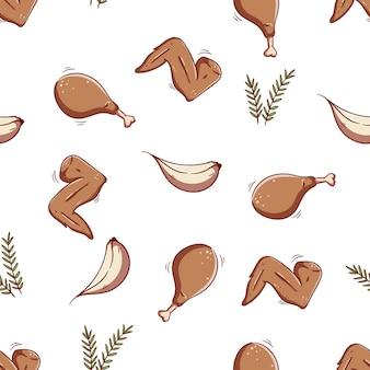 Seamless pattern of chicken leg chicken wings and garlic