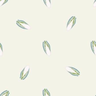 Бесшовный фон цикорий капуста на бежевом фоне. орнамент минимализм с листьями салата.