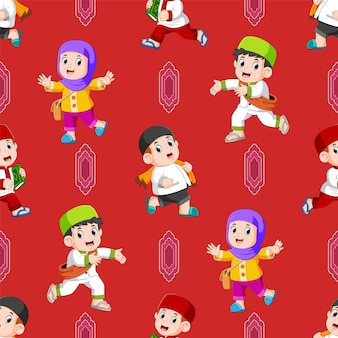 The seamless pattern of the children activity after return from the mosque of illustration