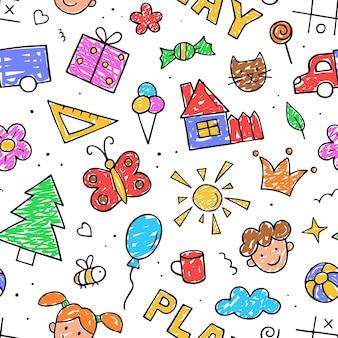 원활한 패턴 어린이 그림. 손으로 그린 귀여운 아이 한다면. 벡터 일러스트 레이 션. 유치한 직물을 위한 디자인.