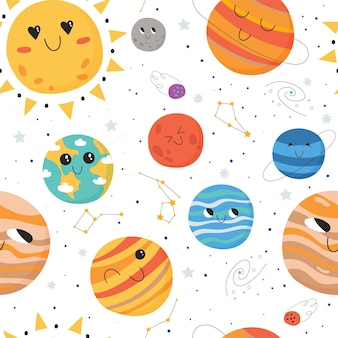 Seamless pattern for children with solar system planets